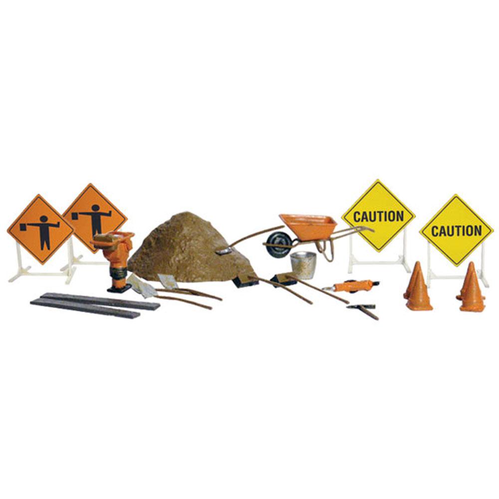 工事現場小物(工事中の看板、ハツリ機、ランマー、手押し車など) :ウッドランド 塗装済完成品 N(1/160) A2213