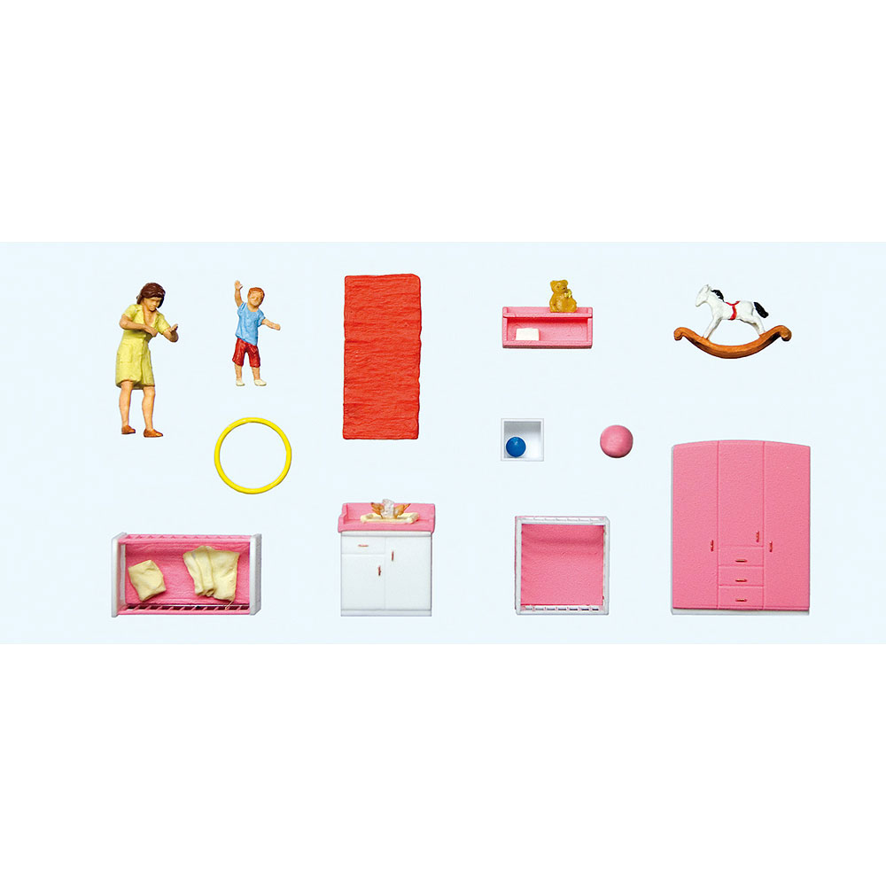 赤ちゃんのオムツを替えるお母さんと家具セット :プライザー 塗装済完成品 HO(1/87) 10645