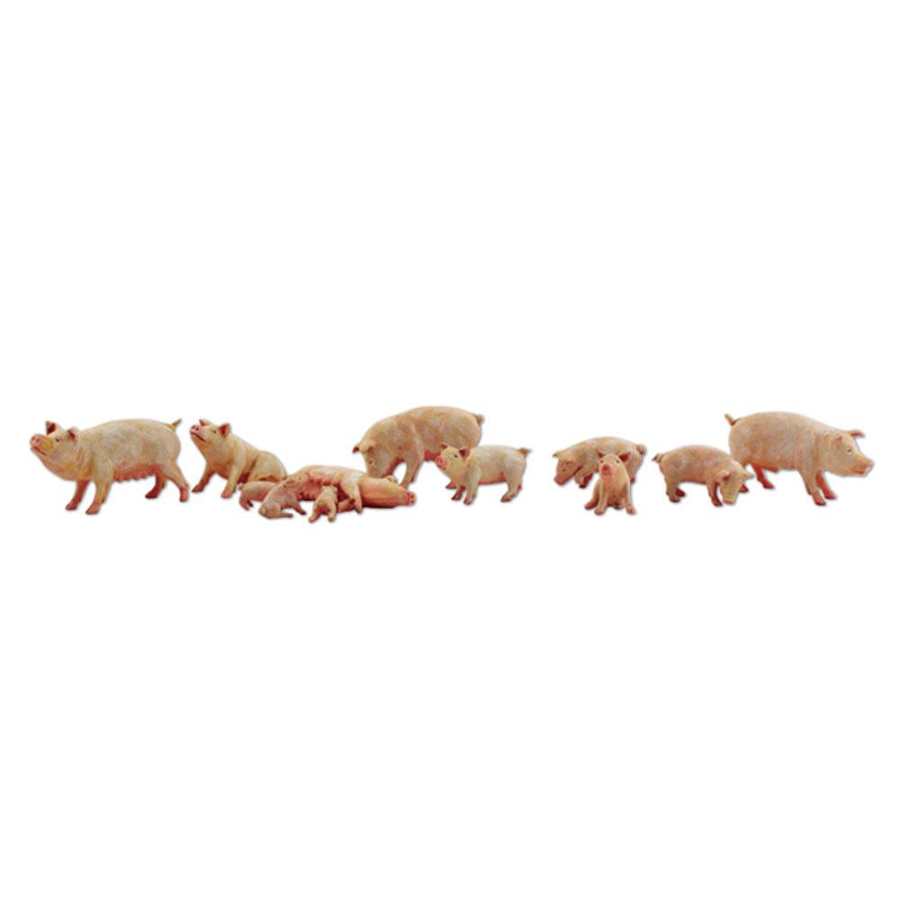 豚(ヨークシャー種)12匹 :ウッドランド 塗装済完成品 N(1/160) A2218