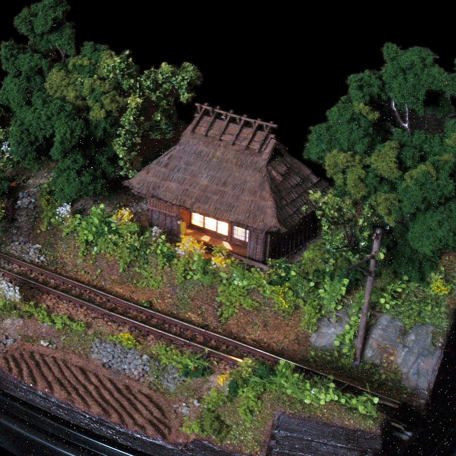 提曽鉄道 其の二 農家 Nゲージモジュール :山尾比呂士 塗装済完成品 1/150サイズ