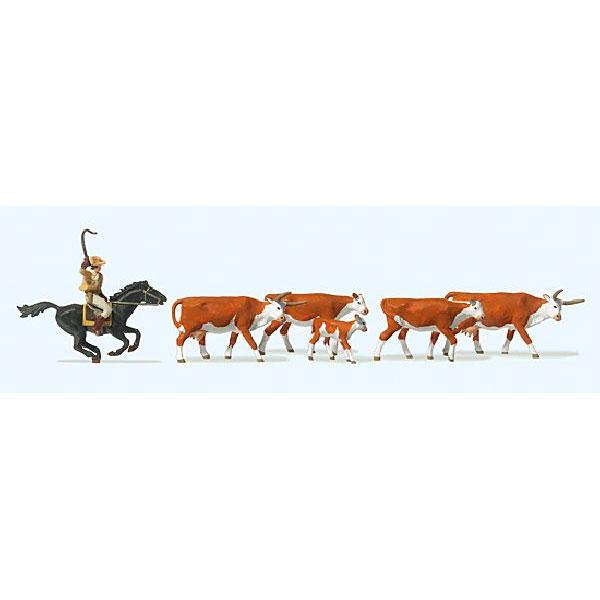 ロングホーンと馬に乗ったカウボーイ :プライザー 塗装済完成品 HO(1/87) 10159