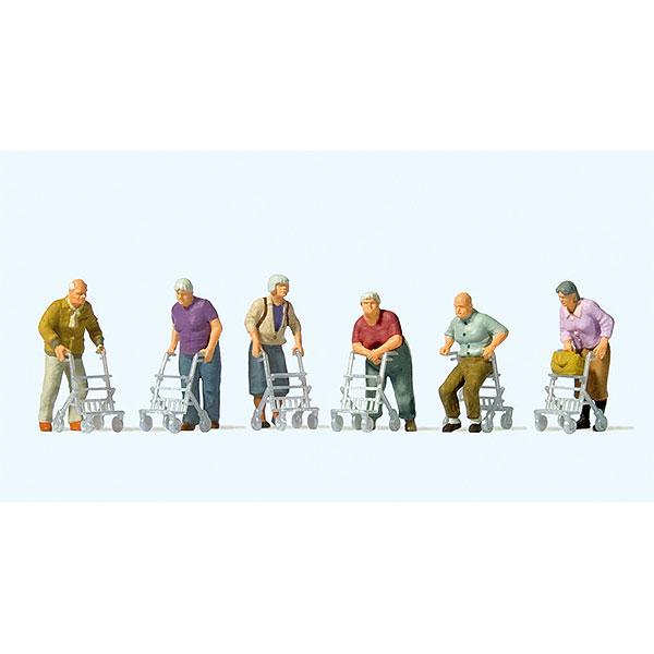 歩行器を使うお年寄りたち :プライザー 塗装済完成品 HO(1/87) 10718