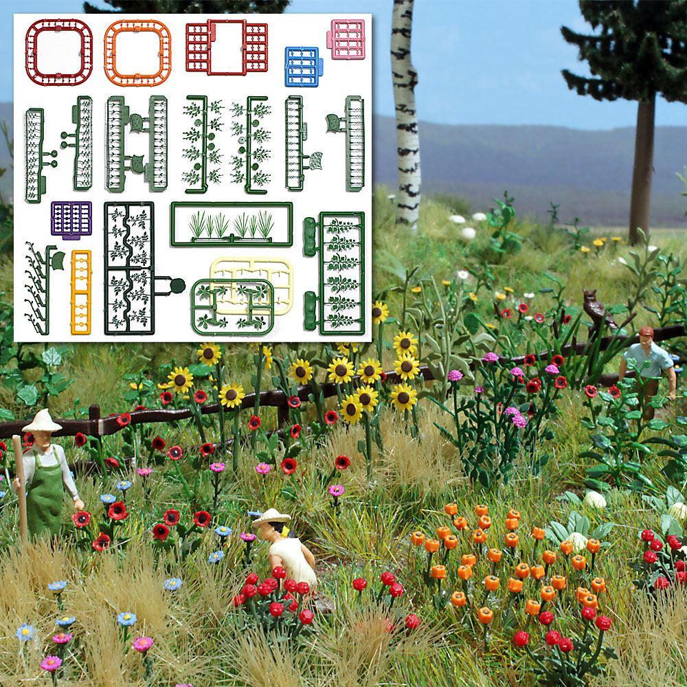 花と植物のセット :ブッシュ 組み立てキット HO(1/87) 1258