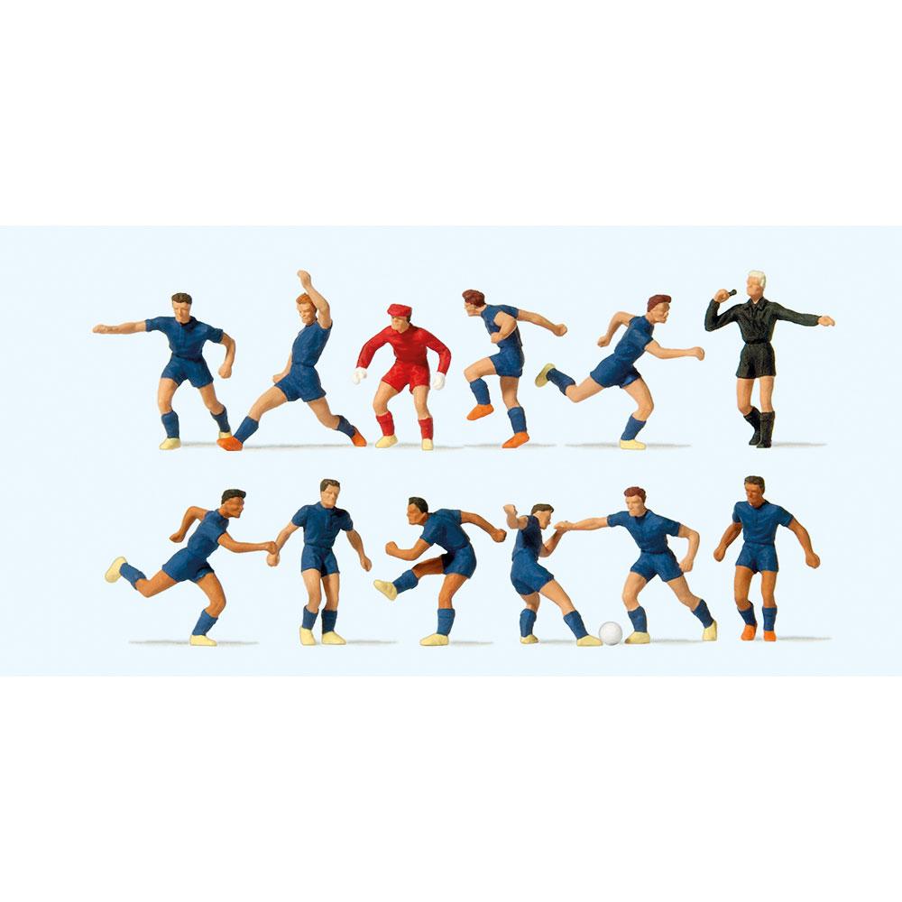 サッカーチームと審判(青シャツ、青パンツ) :プライザー 塗装済完成品 HO(1/87) 10759