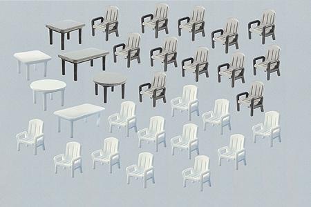 ガーデンチェアとテーブル:ファーラー 組立てキット(プラ) HO(1/87)  180439