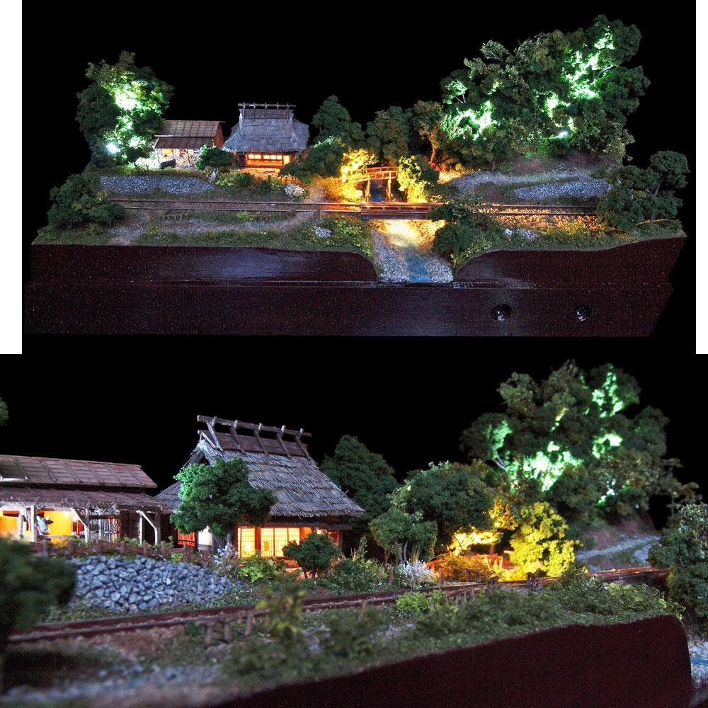 農家と牛舎と地方鉄道 :山尾比呂士 塗装済完成品 1/150サイズ
