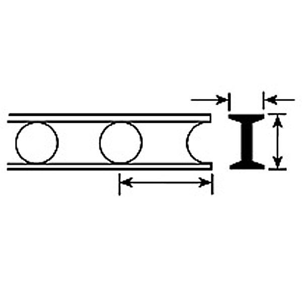丸穴トラス材 3.2 x 1.6 x 100 mm :プラストラクト プラ材 ノンスケール 90931