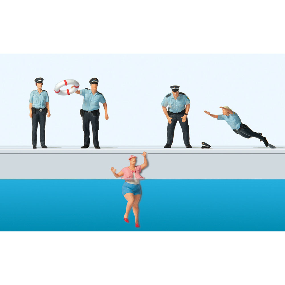 水難救助をする警察官 :プライザー 塗装済完成品 HO(1/87) 10744
