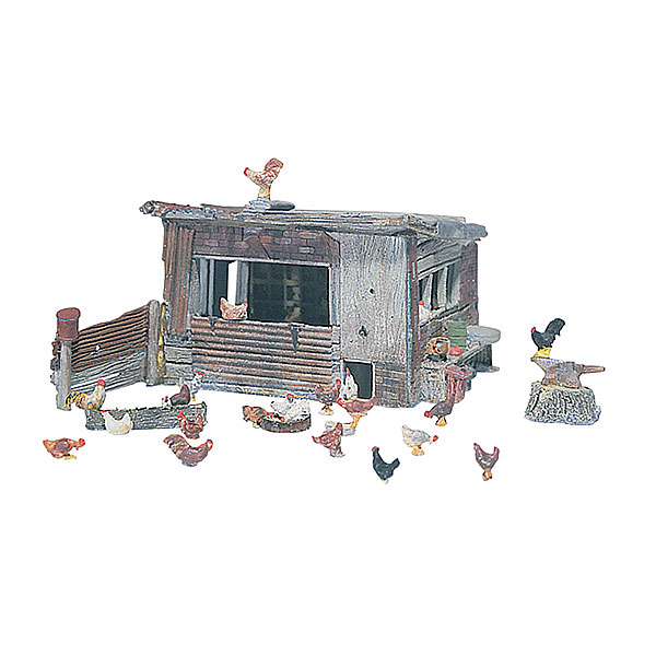 にわとり小屋と鶏 :ウッドランド 未塗装キット HO(1/87) D215
