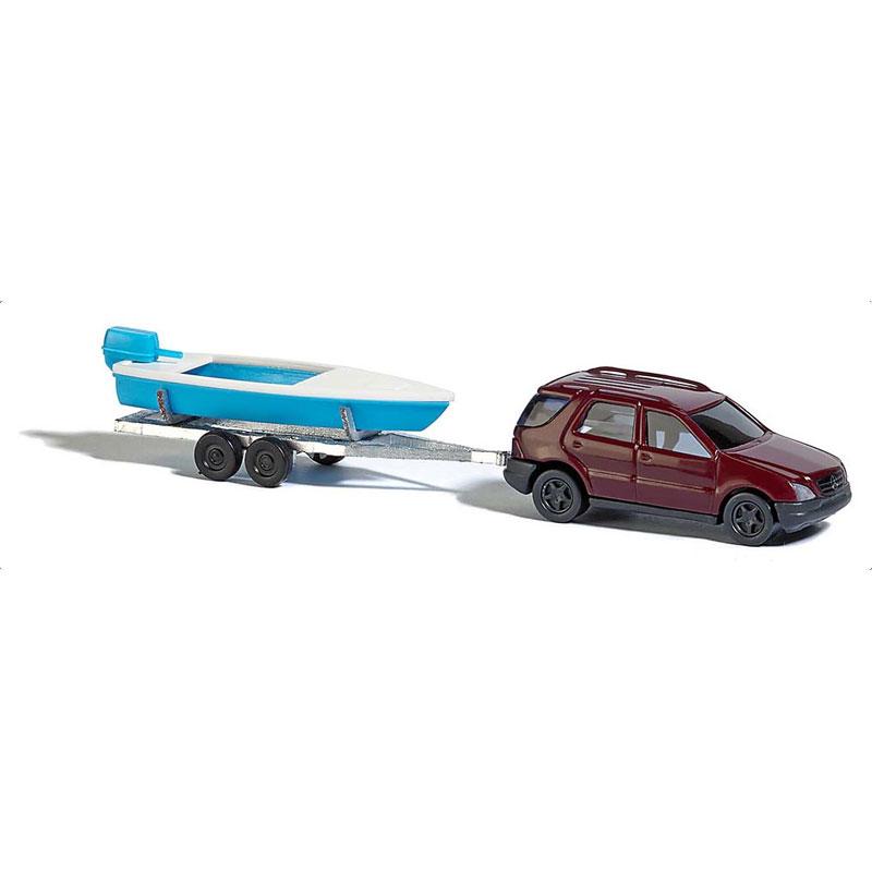 メルセデス ベンツ Mクラス(四輪駆動車) と モーターボートトレーラー :ブッシュ 完成品 N(1/160) 8334