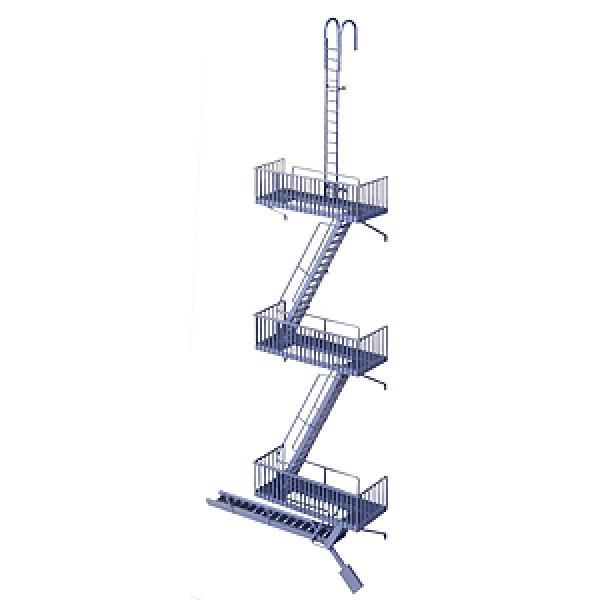 旧型の非常階段(ヴィンテージタイプ) :ウォルサーズ 未塗装キット HO(1/87) 3729