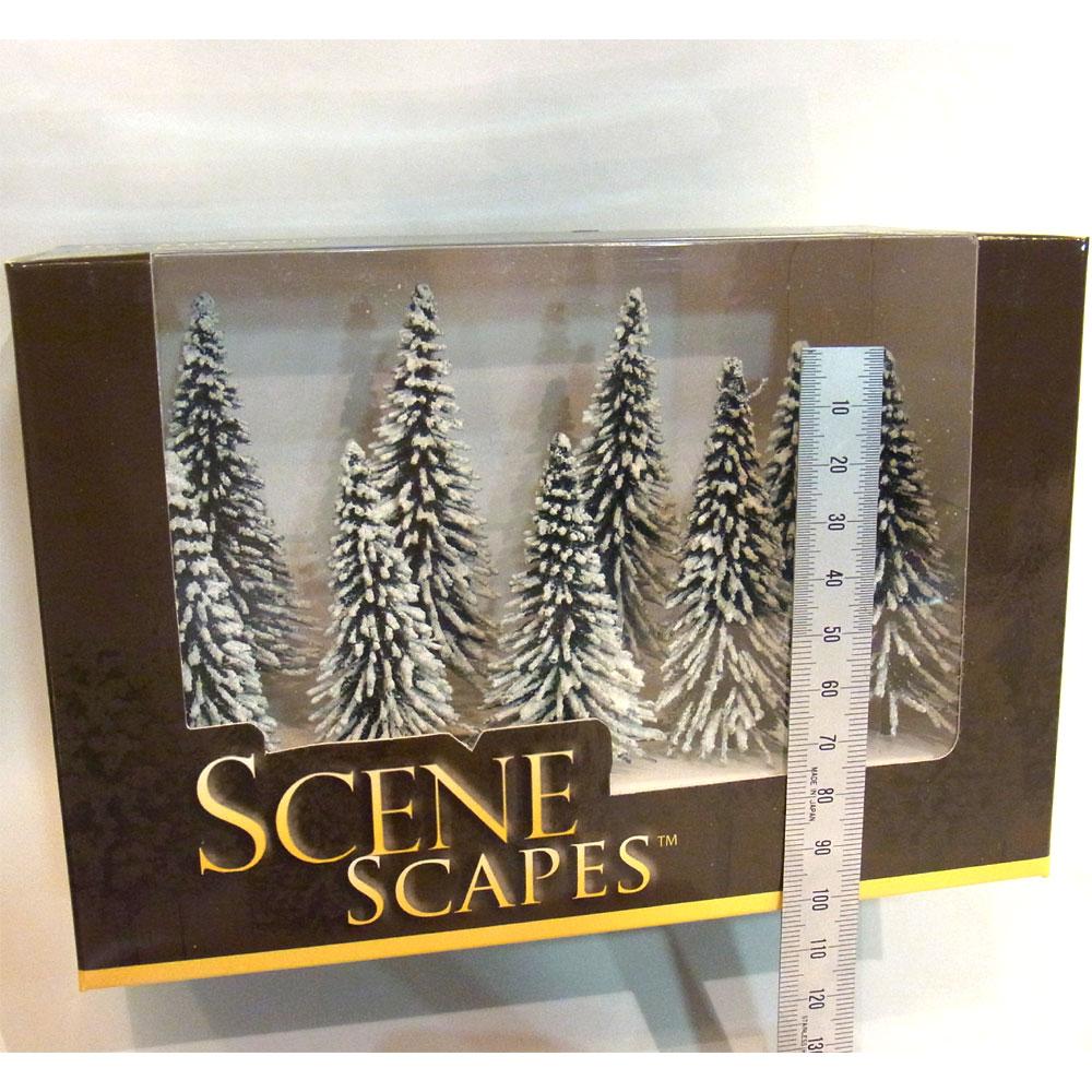 雪を被った冬の松の木(パイン) 7.5〜10cm 9本 :バックマン 完成品 ノンスケール 32102