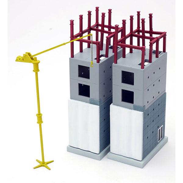 建物コレクション168 建築中の建物D 小型ビル(2棟) :トミーテック 塗装済みキット N(1/150) 301967