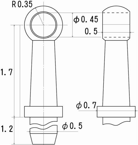 ハンドレールノブ 高さ1.7mm 0.4mm線用 6個入り :さかつう ディテールアップ ノンスケール 5004