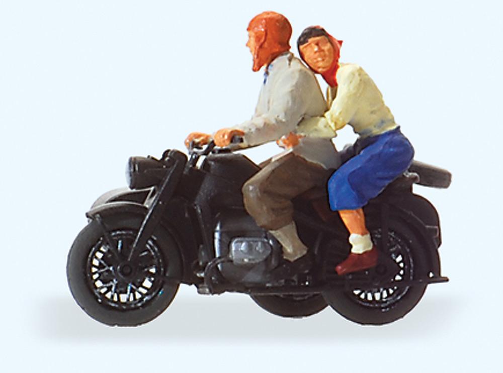オートバイに乗った二人 Zundapp KS 750 :プライザー 塗装済完成品 HO(1/87) 28148