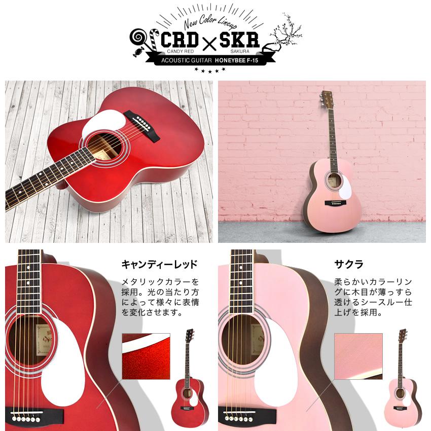 アコースティックギター HONEY BEE W-15/F-15/HJ-18 16点 初心者セット【アコギ 入門セット W15 F15 HJ18 初心者】【大型】