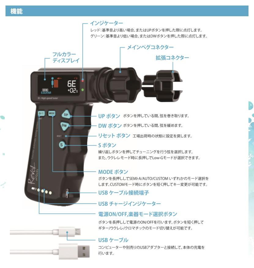 RevoL effects バッテリー充電式 High speed Tuner (ハイスピード・チューナー) RT-1【RT1 レヴォル レボル エフェクツ 電動チューナー 自動チューニング オートチューナー 】