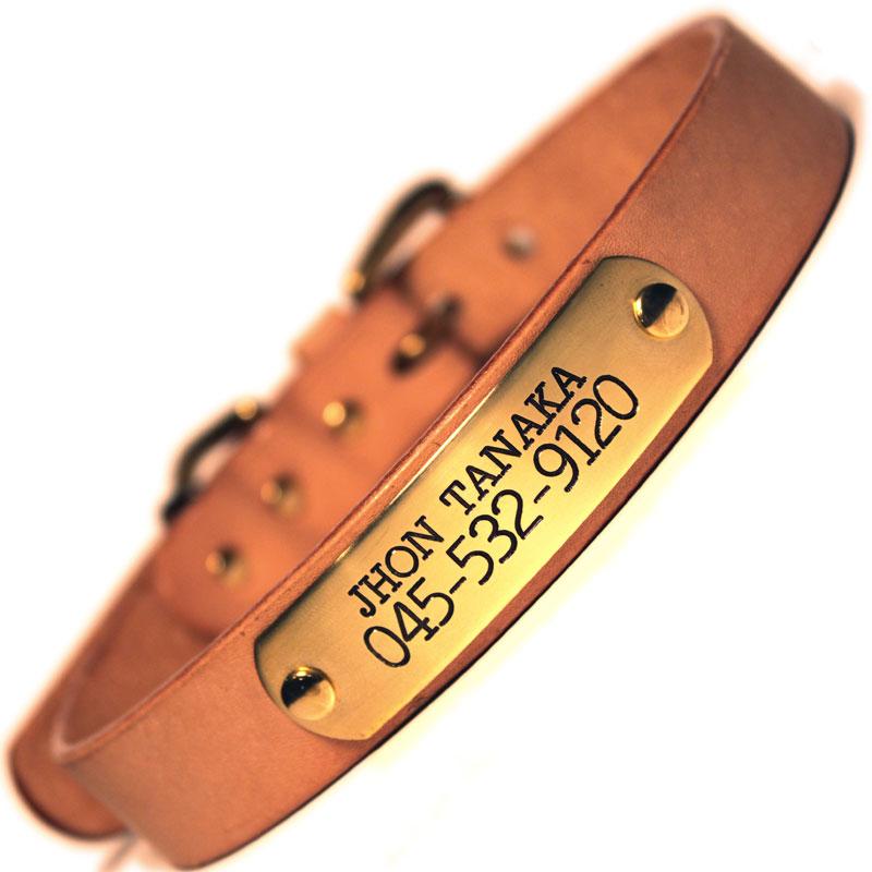 中・大型犬用 迷子札付首輪 おなまえ首輪 真鍮彫刻プレート付 本ヌメ革/本革 手仕上げ  真鍮金具 首輪(小型犬・中型犬) A88890 -24mm