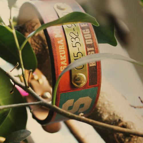おなまえ首輪 名入れ・電話番号 真鍮彫刻プレート&木目グラフィックプリント 本革首輪 真鍮無垢金具 サイズSS〜L ベルト幅30mm #33001-3