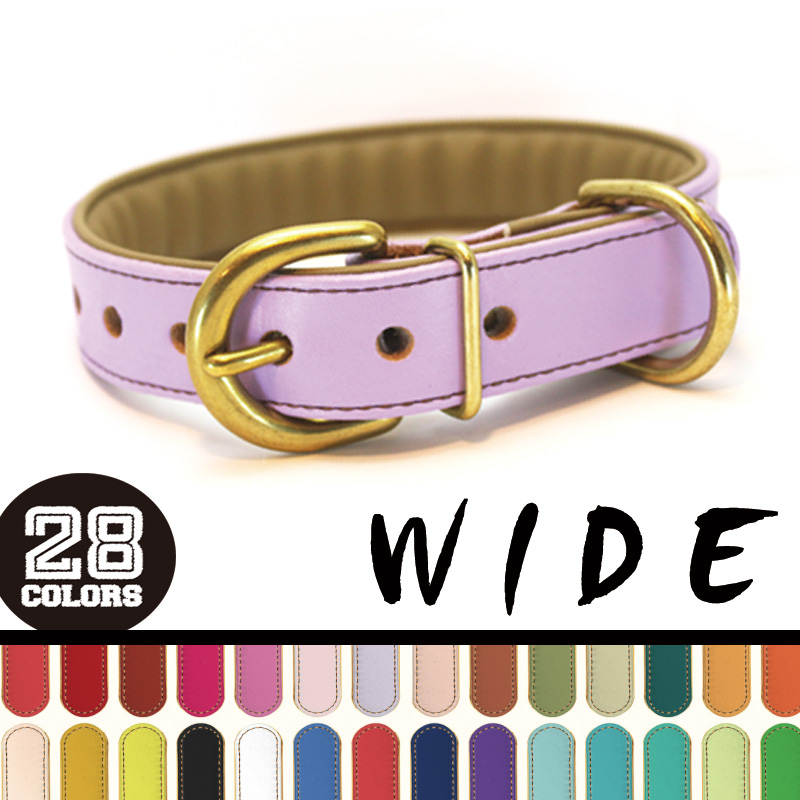 [#A71XX-WIDE25mm]サクラ犬具製作所 本革H.B.カラーワイド 中型・大型犬用 抗菌・ショックレスパッド高機能首輪 全28色 日本製 小型・中型犬に最適-
