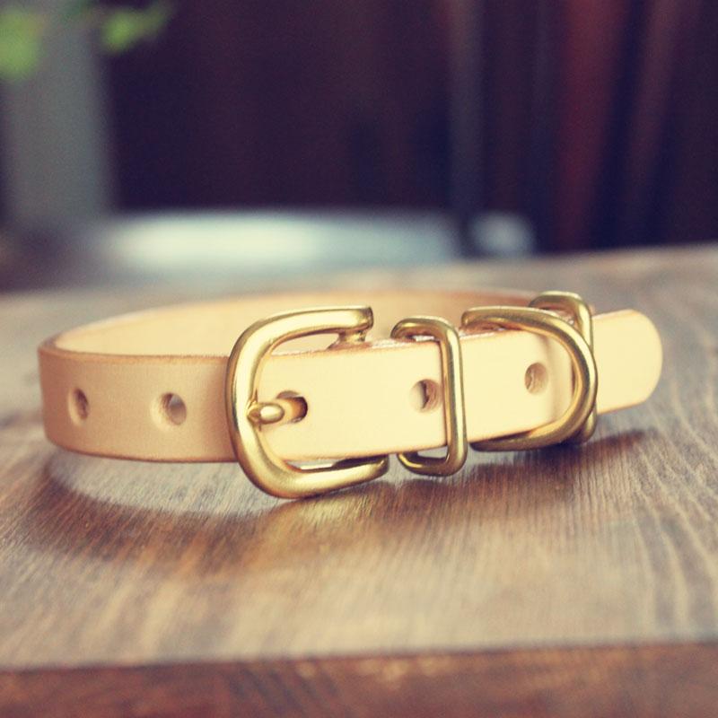 おなまえ首輪 名前電話番号レーザー彫刻 本ヌメ革/本革 手仕上げ  真鍮金具 首輪(小型犬・中型犬) A88894 (SS〜Lサイズ 3-14kg)