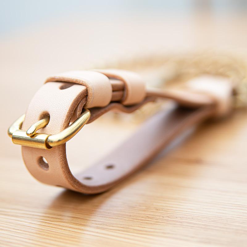 真鍮無垢チェーンリード 中・大型犬用24mm幅 持ち手ベルト式高級ヌメ革  A2100