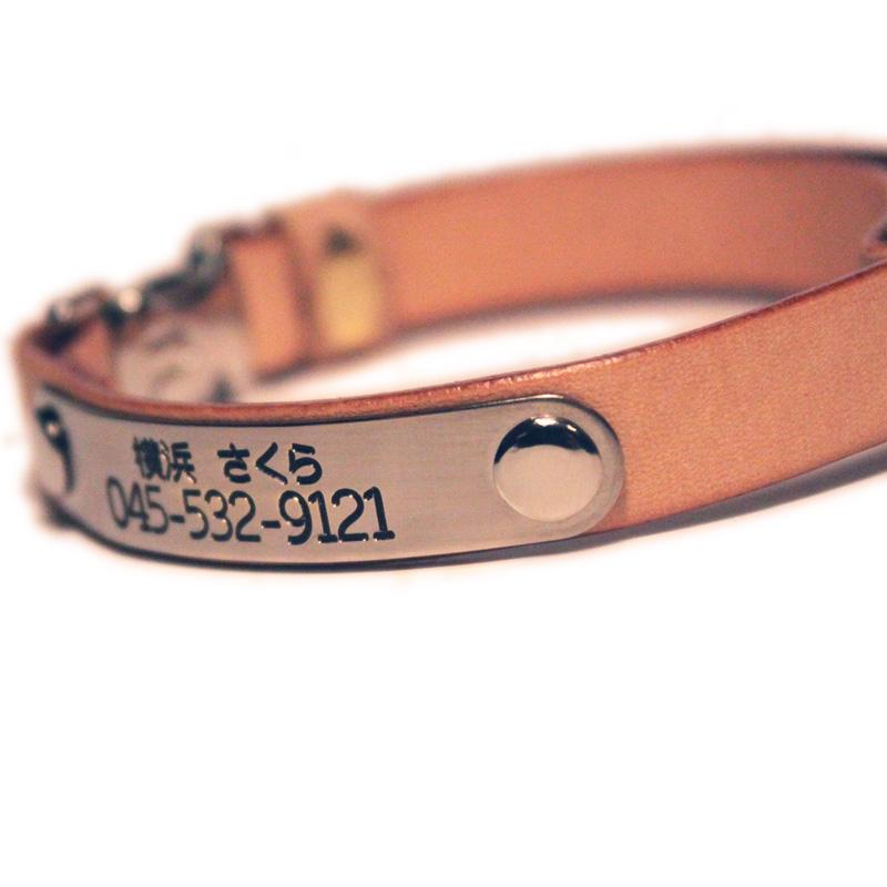 猫用 ヌメ革型押し 本革首輪 サクラ模様 メタル危険防止金具 (首周り18-28cm) ##CT30004
