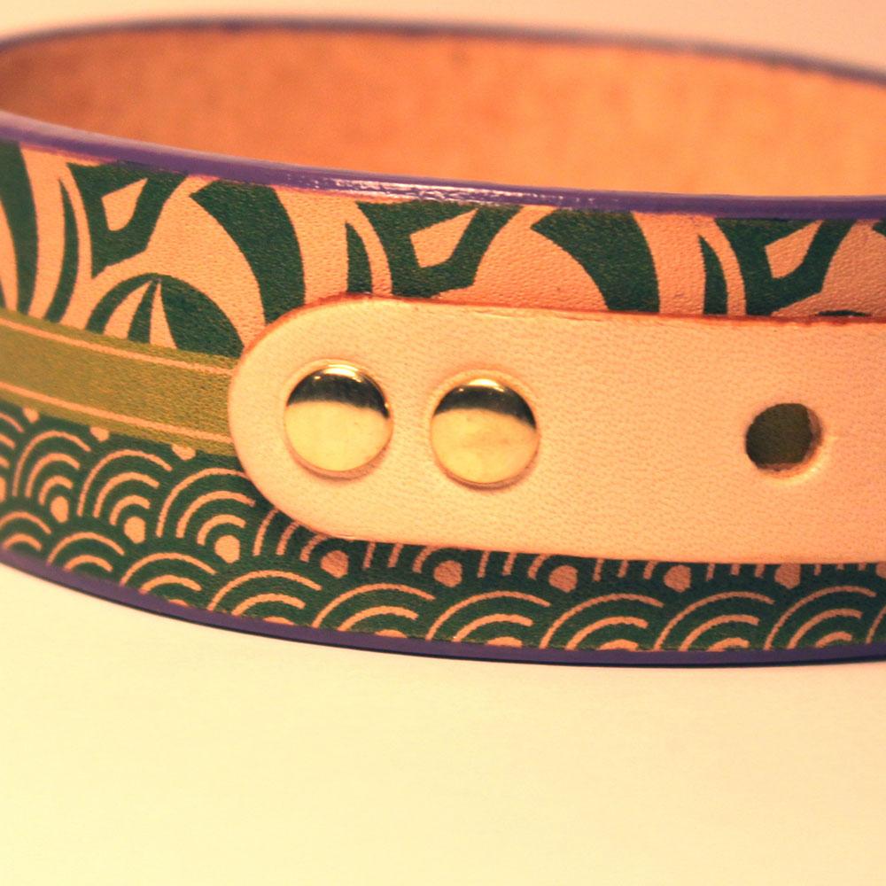 おなまえ首輪 名入れ・電話番号 グラフィックプリント 本革首輪 真鍮無垢金具 サイズSS〜L ベルト幅30mm #33001-2