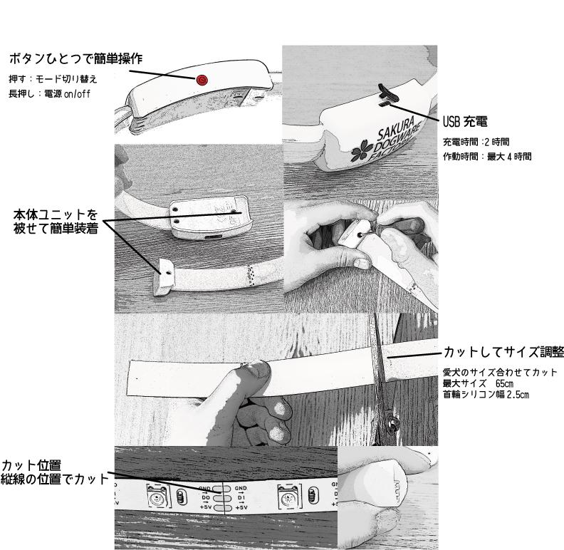 LED光る首輪 マルチカラー発光 流れる点滅 全4色14パターン USB充電
