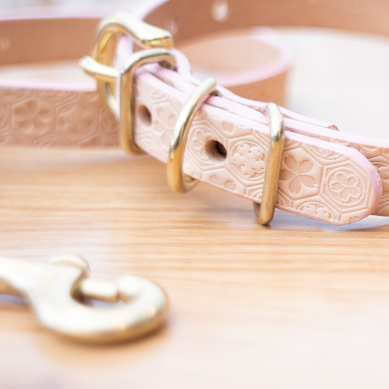 [#A8898]サクラ犬具製作所 本革 サクラ文様 桜亀甲 和柄型押し模様首輪  日本製
