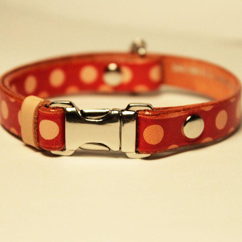 猫用Framer アンティークな風合い 本革首輪 赤ドット柄 メタル危険防止金具 (首周り18-28cm) ##CT23168