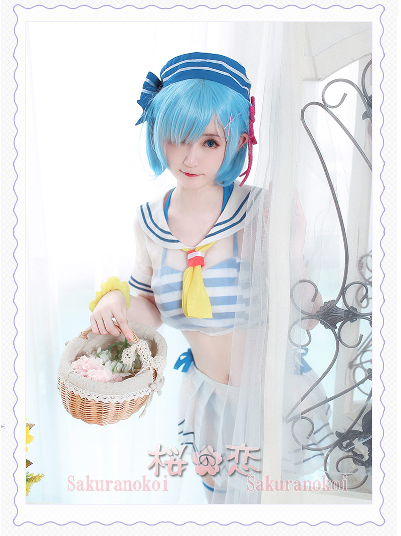 Re:ゼロから始める異世界生活 レム 水着 風 コスプレ衣装 cosplay イベント パーティー コスチュームmj064