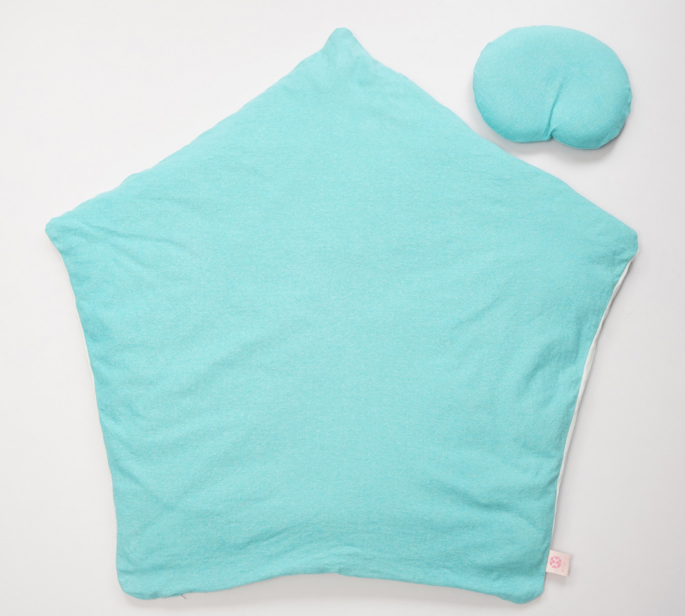 【セット】まんまる枕(ターコイズ)とぐっすり座布団本体&専用カバー(ターコイズ)