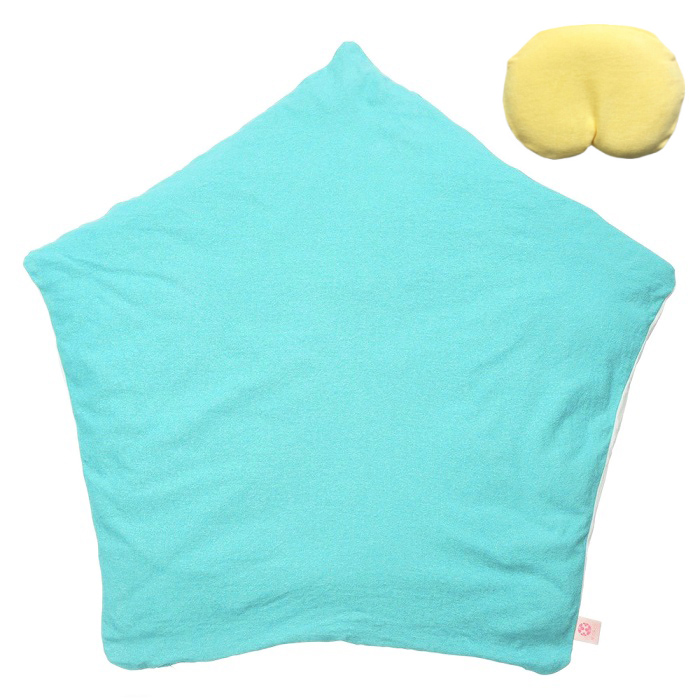 【セット】まんまる枕(イエロー)とぐっすり座布団本体&専用カバー(ターコイズ)