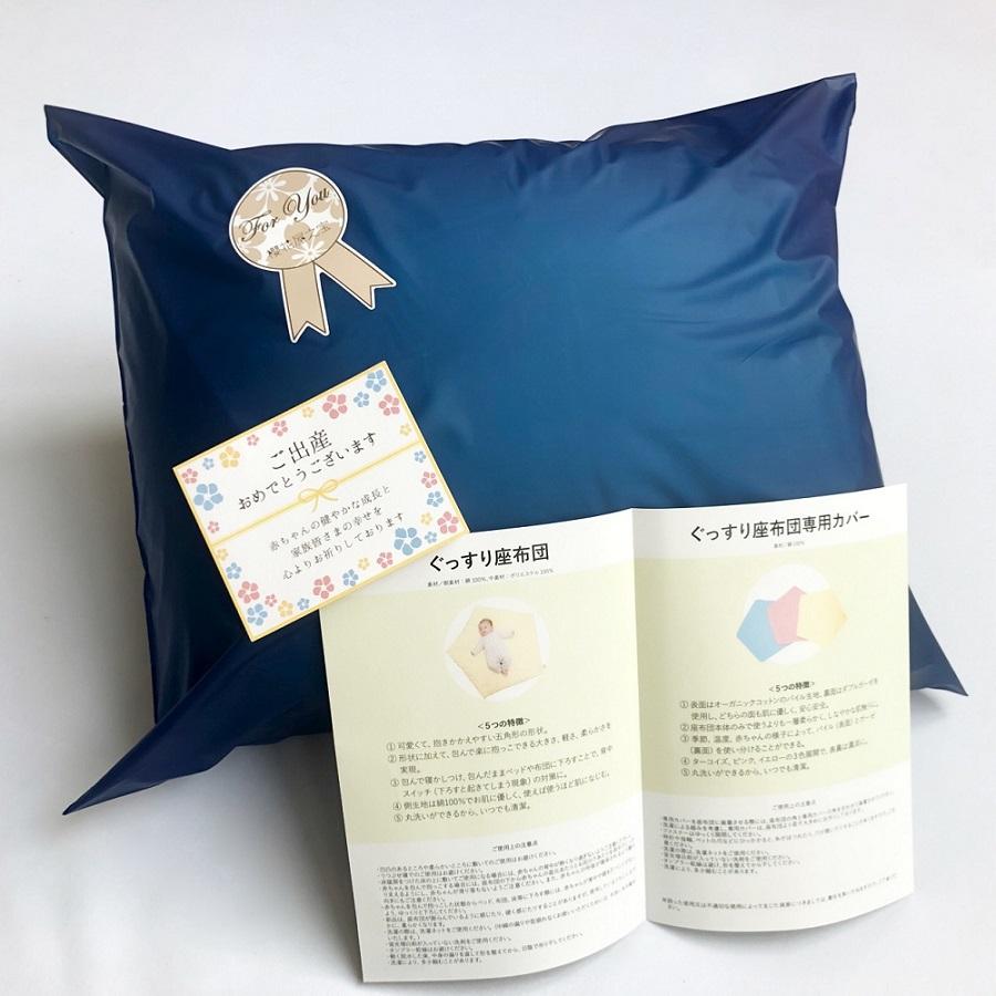 【セット】ぐっすり座布団本体&専用カバー2色(アイボリー&ターコイズ)