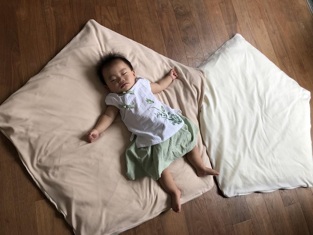 【セット】まんまる枕(ベージュ)とぐっすり座布団本体&専用カバー(ベージュ)