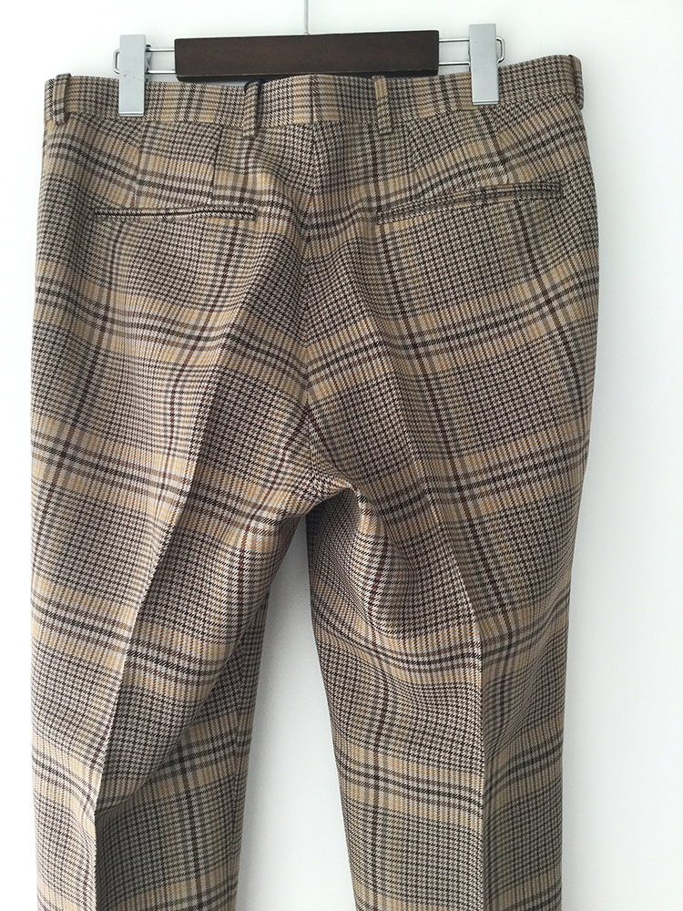 AURALEE A9AP03SC  WOOL SERGE CHECK NARROW SLACKS/ オーラリー ナロースラックス (BEIGE GLEN CHECK)