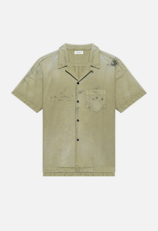 JOHN ELLIOTT GAS STATION S/S SHIRT (OLIVE) / ジョンエリオット ペイントシャツ