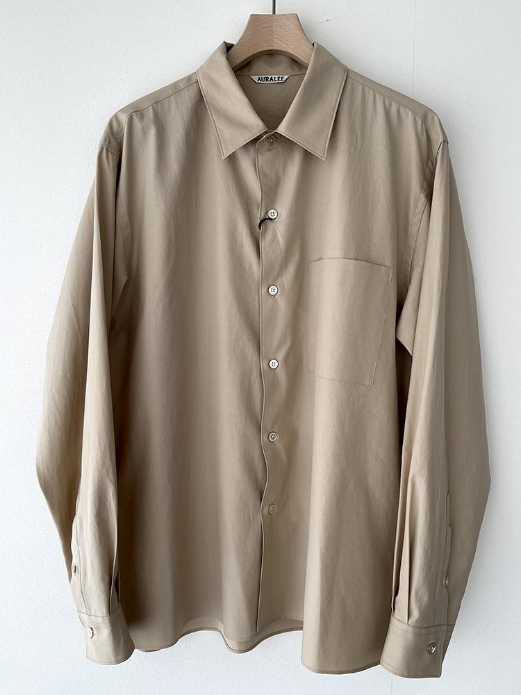 AURALEE A00S01TN WASHED FINX TWILL BOX SHIRTS オーラリー  ボックスシャツ (BEIGE)
