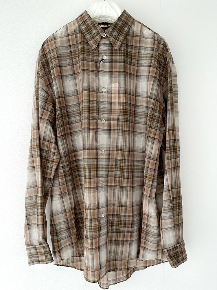 AURALEE A21AS01EMWOOL RECYCLED POLYESTER CLOTH SHIRTS オーラリー  チェックシャツ