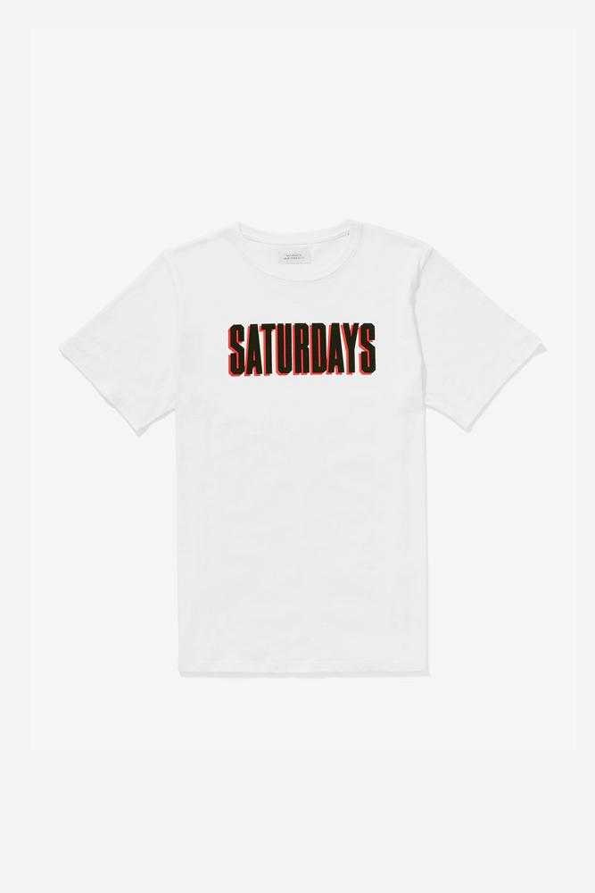 SATURDAYS NEW YORK CITY OFF-SET TEE (WHITE)/ サタデーズニューヨークシティ オフセット ティ