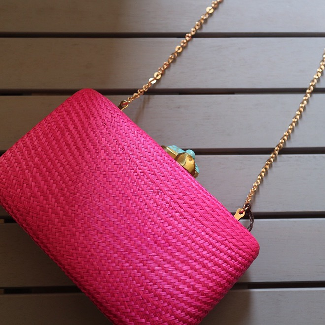 Jen straw with turquoise / Fuchsia Pink