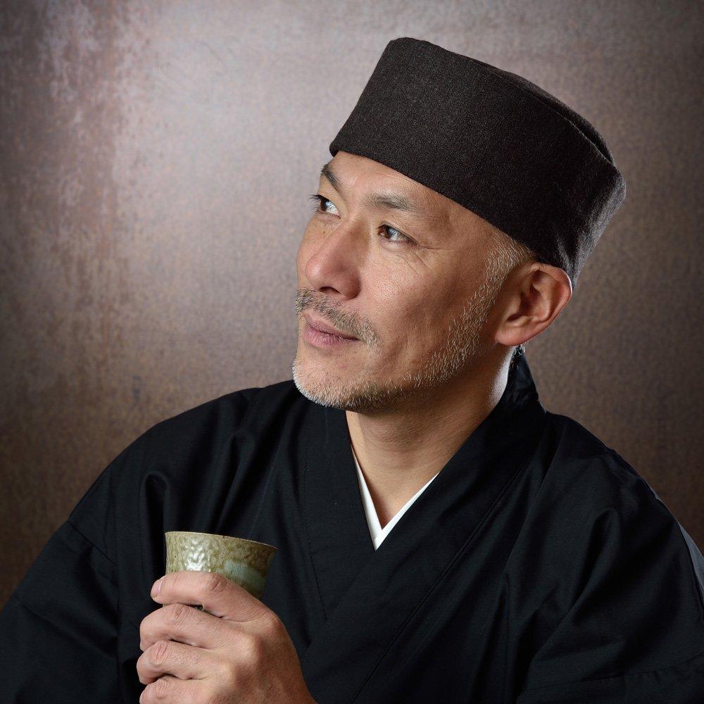 ウール利休帽 茶(S-L)