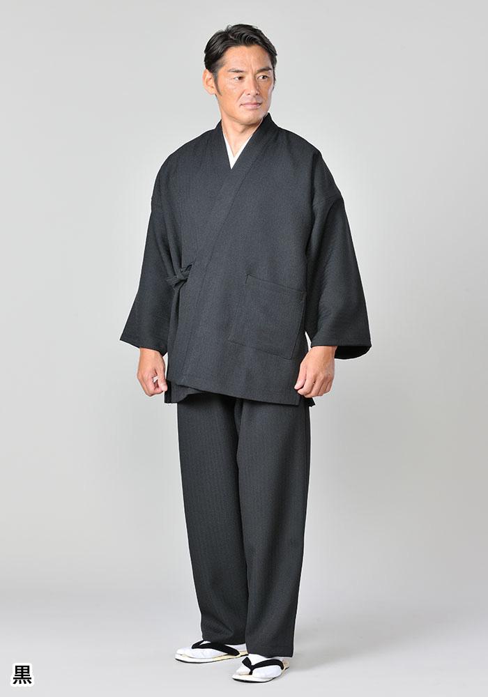 暖かくシワになりにくい作務衣(グレー・黒・ベージュ・濃茶)(M-LL)