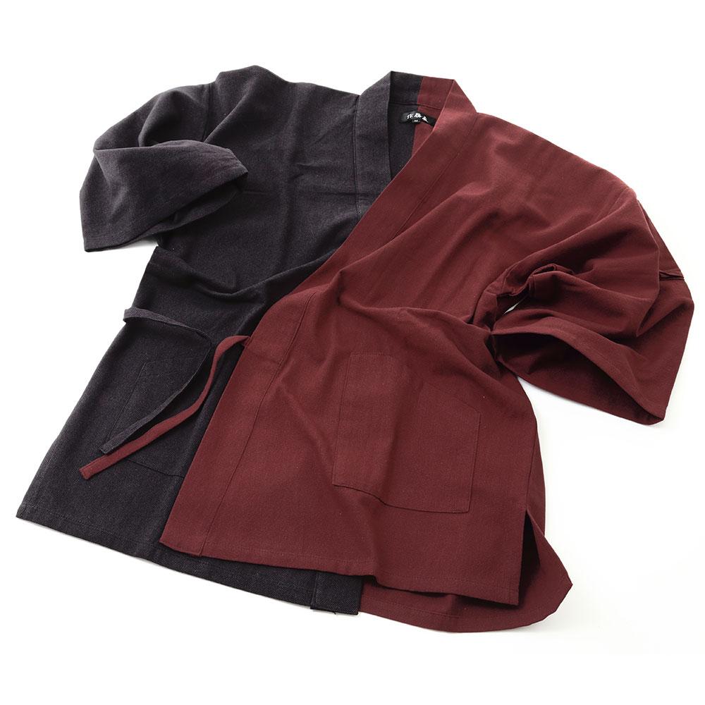 創作木綿切替え作務衣 赤黒(M-L)