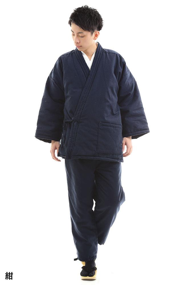 T/C遠赤外線キルト作務衣 ゆらぎ(紺・黒)(M-LL)