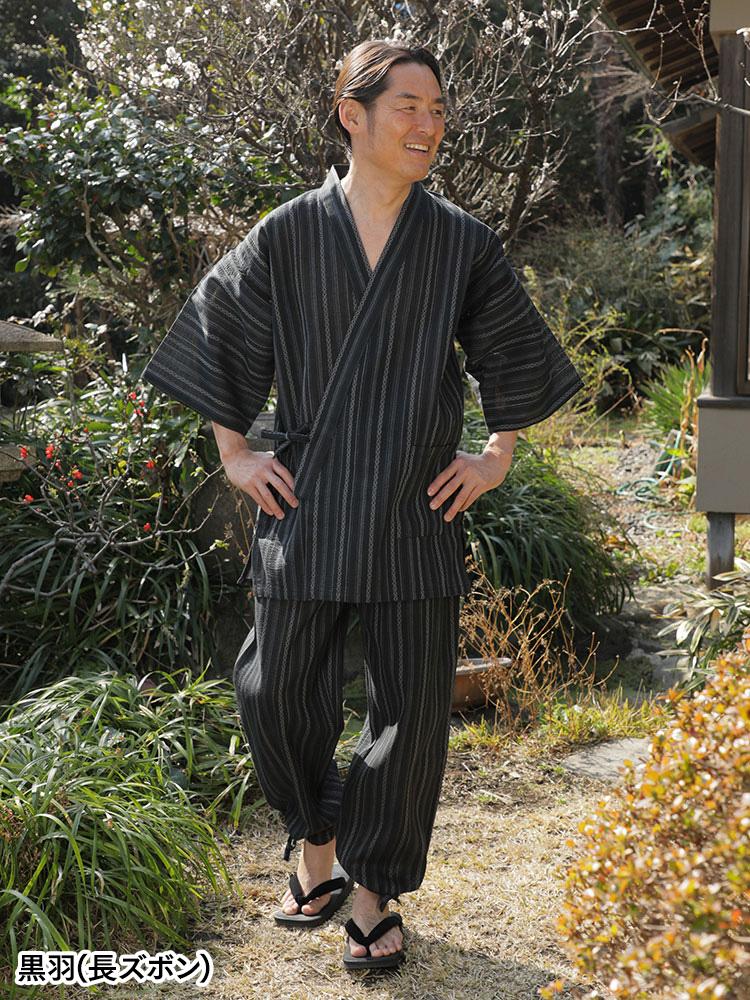 綿麻たて縞2パンツ甚平&作務衣(黒羽・紺白・薄墨)(M-LL)