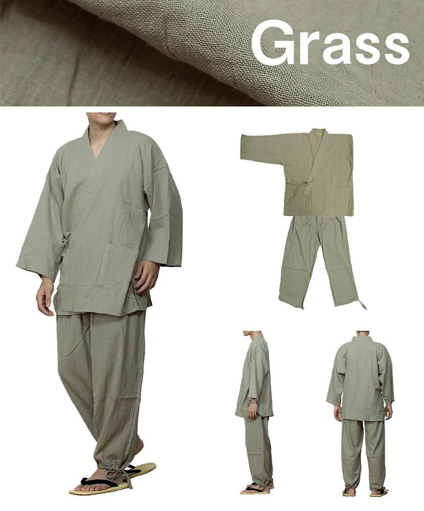 清涼感のある楊柳作務衣 (灰・紺・うす緑)(M-LL)