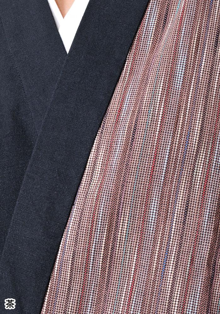 女性用 たて絣デザイン作務衣(赤・茶)(M-L)