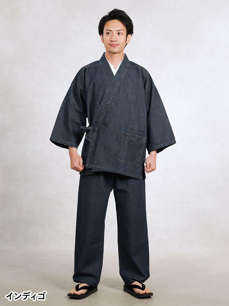 8オンスウォッシュデニム作務衣(インディゴ・ブラック)(M-LL)